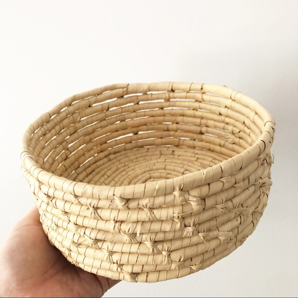 Coiled Grass Wicker Basket Boho Unique Decor